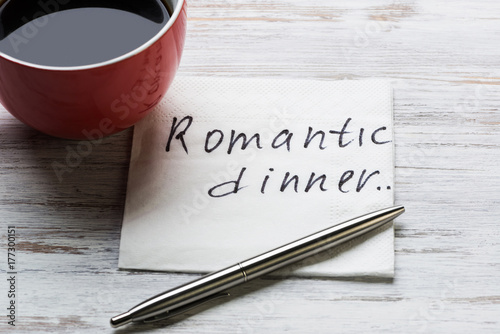 Romantic message written on napkin Canvas Print