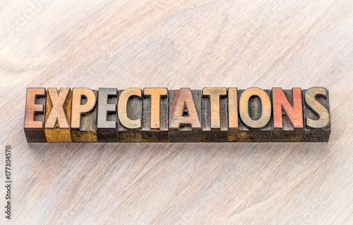 expectations word abstract in wood type Canvas Print