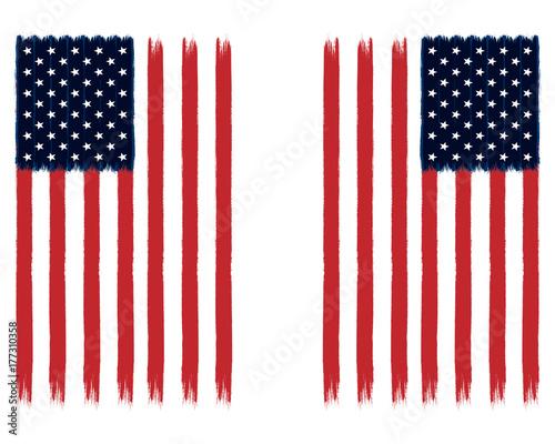 Plakat Malowane flagi amerykańskie - USA Stars and Stripes Vertical