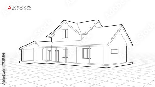 Modern House Building Vector Architectural Drawings 3d Illustration