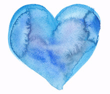 Single Big Abstract Bright Blue Heart Painted In Watercolor On Clean White Background