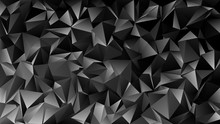 Geometrical Abstract Chaotic Triangle Pattern Background - Mosaic Vector Graphic From Dark Grey Triangles