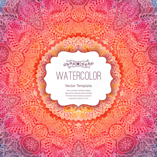 Watercolor mandala, lace ornament made of round pattern in oriental style Wallpaper Mural