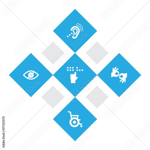 Valokuva  Set Of 5 Disabled Icons Set