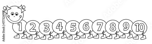 Happy Smiling Caterpillar With Numbers 1 10 Coloring Page For