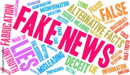 Tela Fake News Word Cloud on a white background.