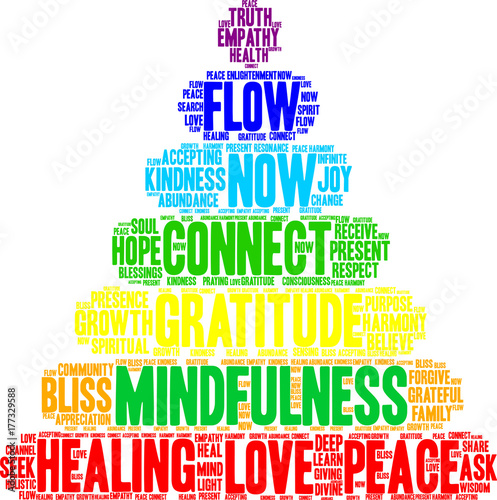 Láminas  Mindfulness Word Cloud on a white background.