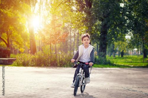 Fototapeta Ślicznej chłopiec jeździecki bicykl w parku.
