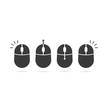 Collection Of Black Scroll And Click Icon