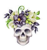 watercolor illustration, Halloween floral skull, black flowers, autumn pumpkin, festive clip art isolated on white background - 177334932