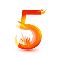 Number 5 In Fire Flame Icon Ve...