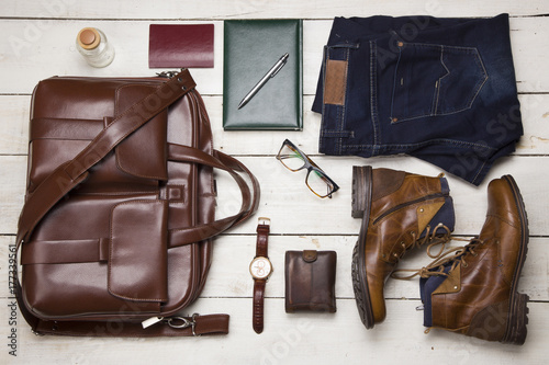 Fototapeta Set of men's clothing and accessories. Hipster concept obraz