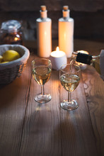 Festive Table With White Wine ...