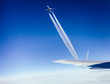 Airplanes flying dangerously close to each other