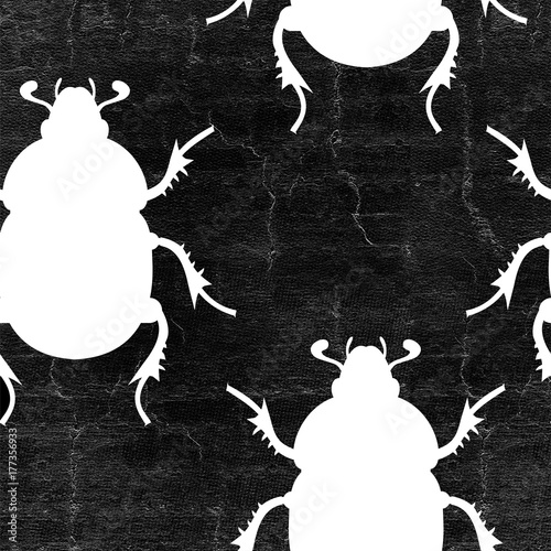 Cotton fabric insects seamless