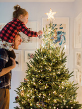 Father And Daughter Decorate A...