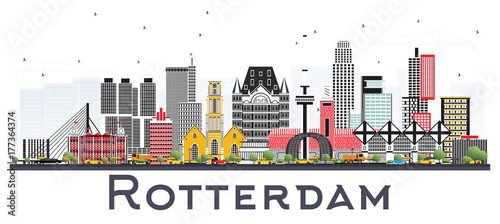 Foto op Plexiglas Rotterdam Rotterdam Netherlands Skyline with Gray Buildings Isolated on White Background.