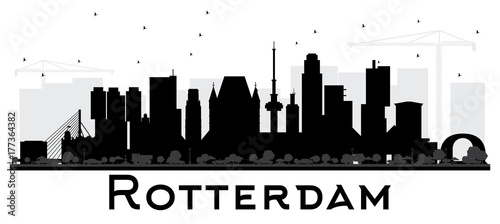 Foto op Canvas Rotterdam Rotterdam Netherlands skyline black and white silhouette.