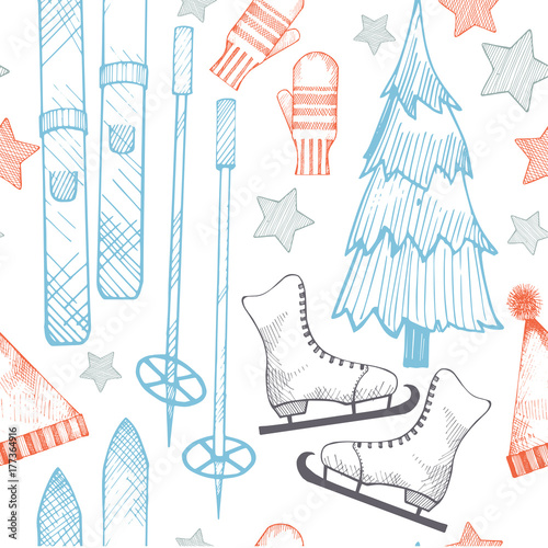 Poster Doodle Winter hand-drawn vector seamless pattern.