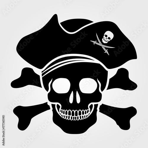 Obraz na plátně Jolly Roger icon isolated on white background