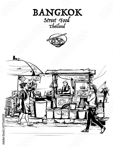 Poster Art Studio Bangkok, Thailand. street food