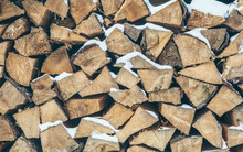 Pile Of Stacked Fire Wood With...
