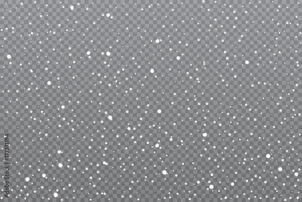 Fototapety, obrazy: Realistic falling snow on transparent background. Vector illustration.