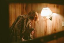 Blonde Woman Draped In Fur, Co...