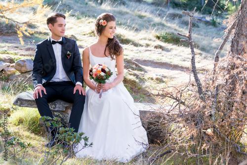 Zdjęcie XXL Szczęśliwa ślubna para przy ślubem