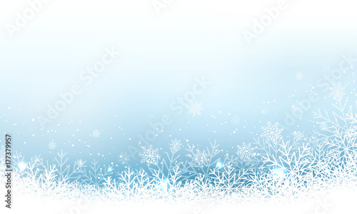 Photo  Christmas abstract vector wallpaper with snowfall, glitter, snowflakes and stripe for your content