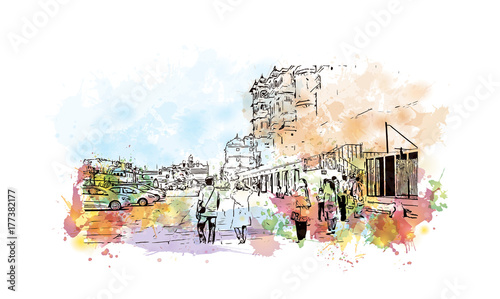 Fototapety, obrazy: Watercolor sketch with splash of City Palace, Udaipur, India in vector illustration.