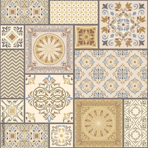 Vector abstract seamless patchwork pattern with geometric and floral ornaments, stylized flowers, dots and lace. Fototapete