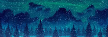 Mountains And Pine Trees In Snowfall Illustrated Winter Landscape