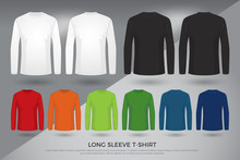 Men's Long Sleeve T-shirt, Set Of Black, White And Colored Long Sleeve Shirts Templates Design. Front And Back View Shirt Mock Up. Vector Illustration