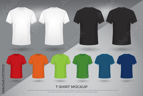 Fotografia Men's t-shirt mockup, Set of black, white and colored t-shirts templates design