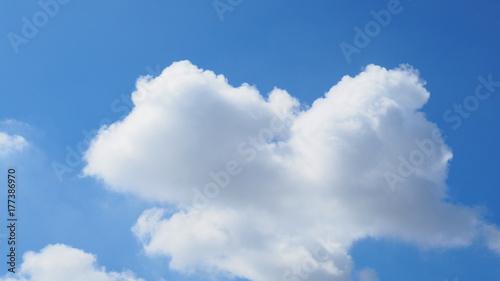 Obraz na płótnie Jasne błękitne niebo jasne z dużą chmurą biały w kształcie ptaka w centrum, szeroki ekran tło