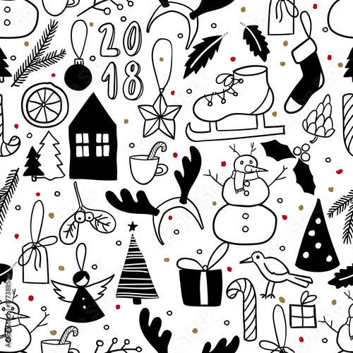 simple black and white doodle snowman christmas tree ice