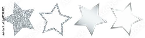 Obraz 4 Stars Sparkling Shining Silver - fototapety do salonu