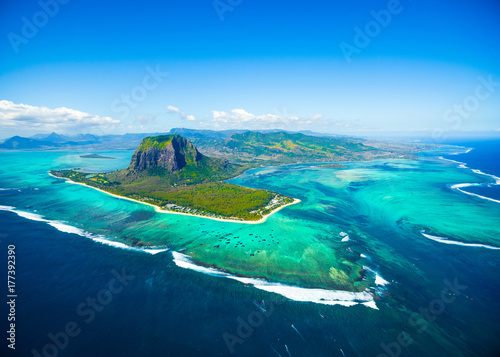 Aluminium Prints Blue Aerial view of Mauritius island