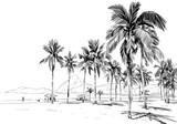 Plaża Copacabana. Rio de Janeiro. Brazylia. Ręcznie rysowane szkic miasta. Ilustracji wektorowych. - 177393305