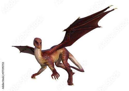 Zdjęcie XXL 3D Rendering Fantasy Dragon na białym tle