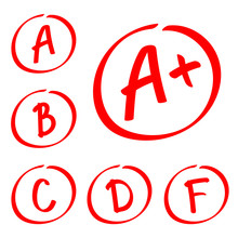 Grade Results. Hand Drawn Vector Set Of Grades. Red Notes.