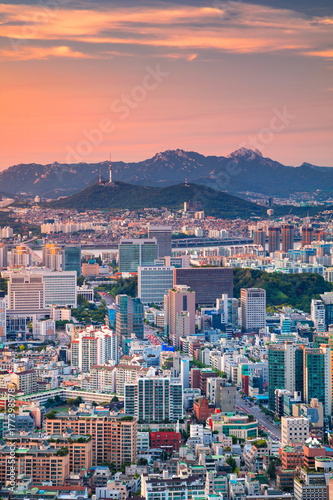 Seoul. Cityscape image of Seoul downtown during summer sunset.