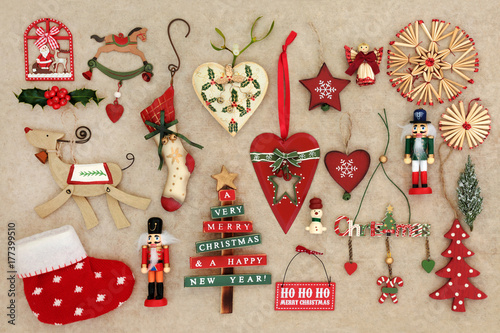 old fashioned christmas decorations on handmade hemp paper background