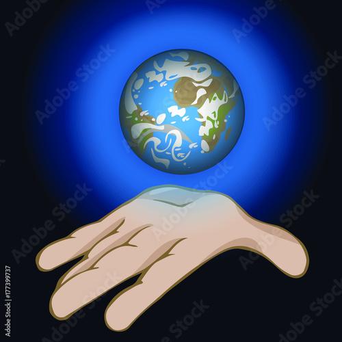 Fototapeta świat w twojej dłoni, cały świat w jego rękach