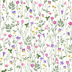 Naklejka decorative seamless floral pattern with meadow flowers