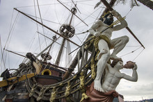 The Neptune, A Ship Replica Of A 17th-century Spanish Galleon Built In 1985 For Roman Polanski's Film Pirates. Currently An Attraction In The Port Of Genoa, Italy