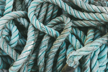 Pile Of Industrial Rope Used For Commercial Fishing