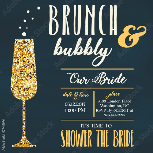 Brunch &Bubbly invitation Tapéta, Fotótapéta