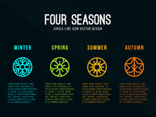 4 Seasons Icon Sign In Circle Border Line With Snow Winter , Flower Spring , Sun Summer And Maple Leaf  Autumn Vector Design
